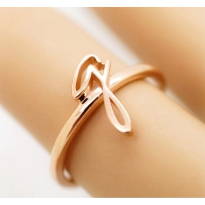 925 Silver Personalized Handwriting Ring 18K Solid Gold Initial Name