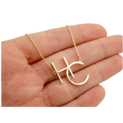 Sera 925 Silver Plated 18K Gold Sideway Monogram with Two Letters Name Necklace