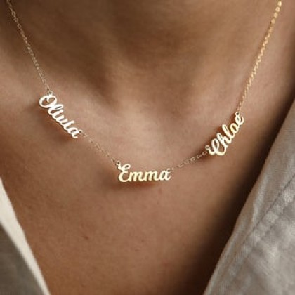 Sera 925 Silver Personalized Plated 18K Gold Three Name Necklace For Women
