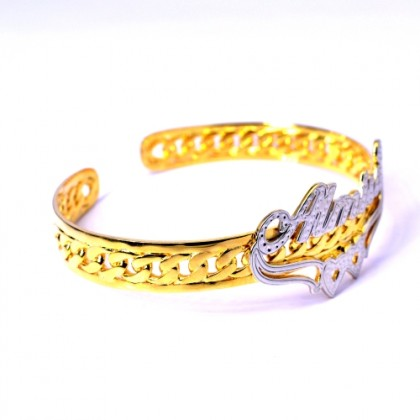 925 Sterling Silver Personalized Name Ladies Bangle Gold Plated