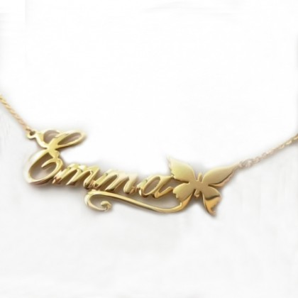 Sera 925 Sterling Silver Gold Plated Personalized Name Necklace Butterfly Design