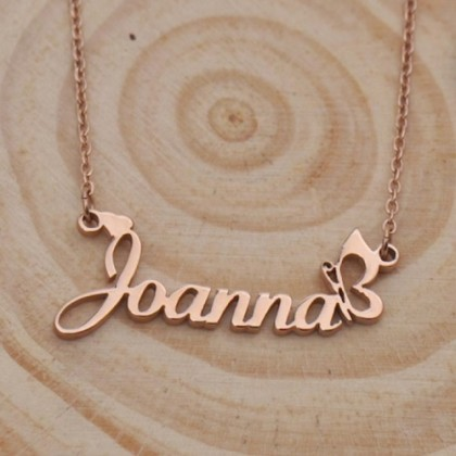 Sera 925 Sterling Silver Plated Rose Gold Personalized Name Necklace Butterfly Design