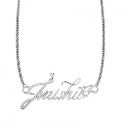 Sera 925 Sterling Silver Personalized 3D Name Necklace Tiny Heart and Butterfly Design