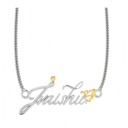 Sera 925 Sterling Silver Gold & Silver Personalized 3D Name Necklace Tiny Heart and Butterfly Design