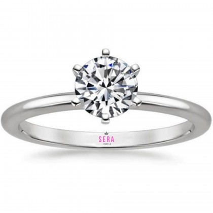 SERA 925 Sterling Silver Crown Solitaire Engagement Ladies Ring