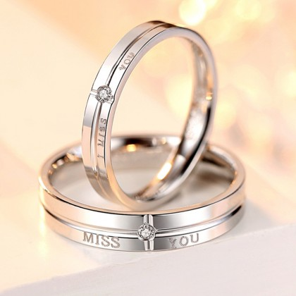 """Sera 925 Genuine Silver Couple with the text """"I MISS YOU"""""""