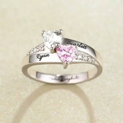 Engraved Double Heart Birthstone 925 Ring Sterling Silver