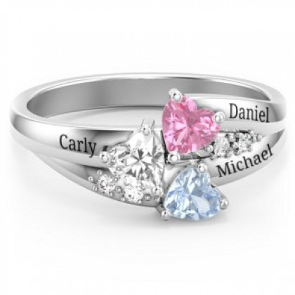 925 Silver Engraving Names Ring with Triple Heart Birthstone