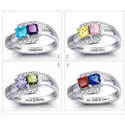 925 Personalized Silver Ring with Double Square Birthstone