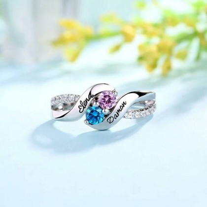 925 Personalized Name Silver Ring with Double Birthstones