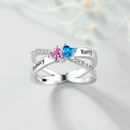 925 Personalized Silver X-Shaped with Double Heart Birthstone