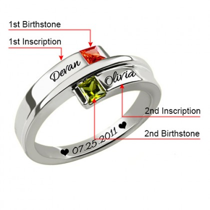 Double Square Birthstones 925 Silver Personalized Engraved Name Ring