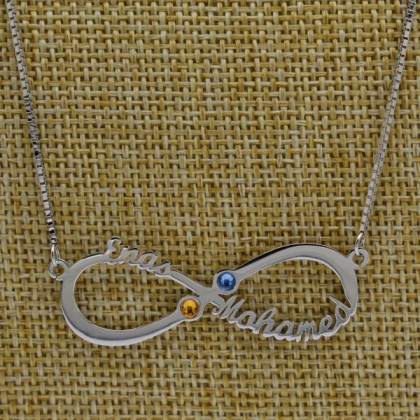 Two Names and Birthstone 925 Sterling Silver Infinity Name Necklace