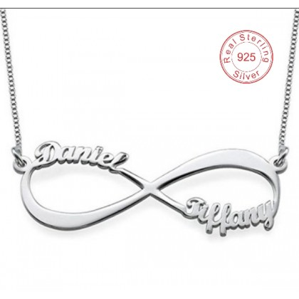925 Silver Double Infinity Name Necklace Platinum Plated