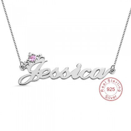 Personalized Crystal 925 Silver Name Necklace With Crown
