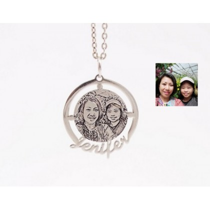 Sera 925 Sterling Silver Custom Photo Necklace with Personalized Name
